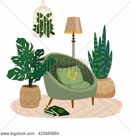 Cozy Room Interior With Modern Green Armchair. Hygge Place For Rest And Relaxation. Soft Chair, With
