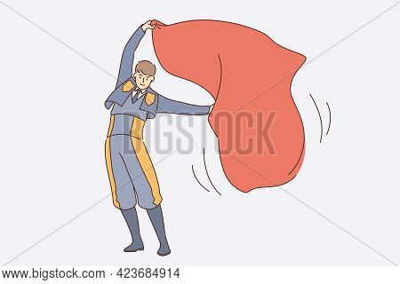 Working As Spanish Bullfighter Concept. Young Man Bullfighter Cartoon Character In Uniform With Red