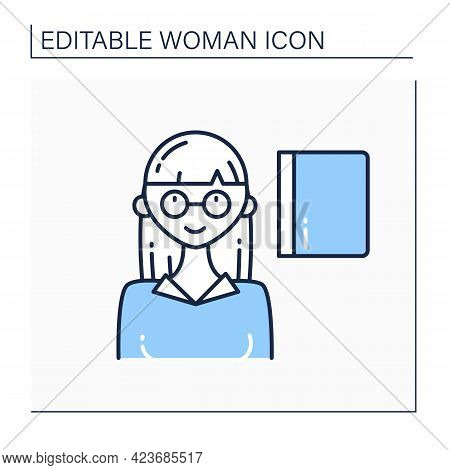 Woman Professor Line Icon. Female In Glasses Teaching Student. Successful Strong Woman Concept. Isol