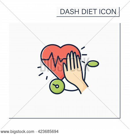 Stop Hypertension Color Icon. Calm High Blood Pressure. Hand Stops Heartbeat. Dash Diet Concept. Iso