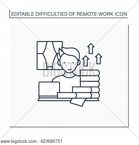 Remote Work Line Icon. Career Advancement Takes Extra Work. Increase Productivity. Many Tasks. Succe
