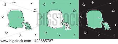 Set Vomiting Man Icon Isolated On White And Green, Black Background. Symptom Of Disease, Problem Wit