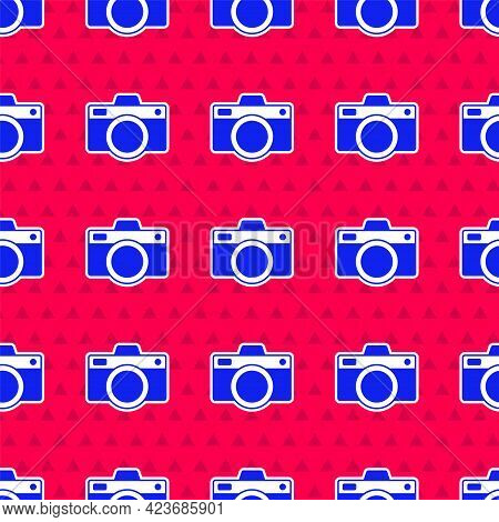 Blue Photo Camera Icon Isolated Seamless Pattern On Red Background. Foto Camera Icon. Vector
