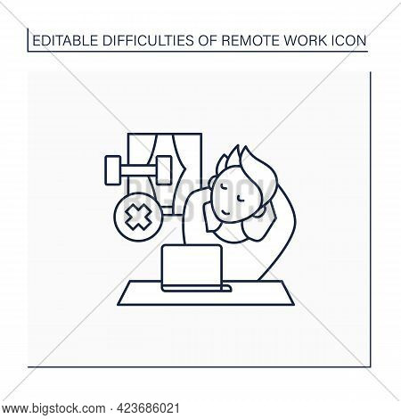 Remote Work Line Icon. Lack Of Physical Activities. Laziness. Tired. Have Not Time To Sport. Career