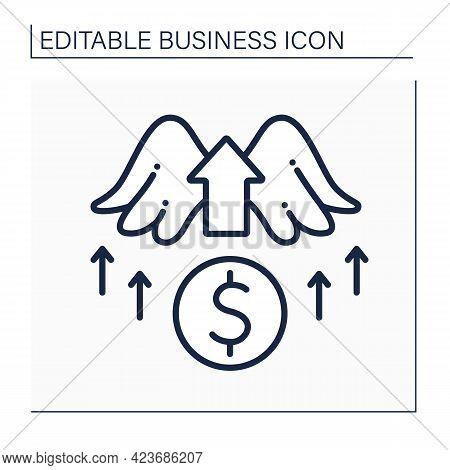 Angel Investor Line Icon. Investors Invest Money Into New Startup Ideas. Profitable Investment. Busi