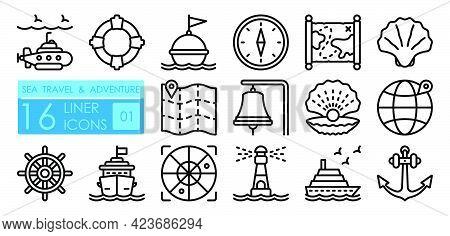 Set Of Nautical Icons. Submarine, Lifebuoy, Buoy On Waves, Compass, Map, Shell, Boat Wheel, Lighthou