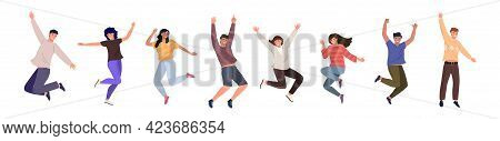 Happy Jumping Young People. Cheerful Cartoon Characters Set. The Concept Of Friendship, Happiness, J