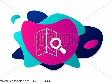 Color Search Location Icon Isolated On White Background. Magnifying Glass With Pointer Sign. Abstrac