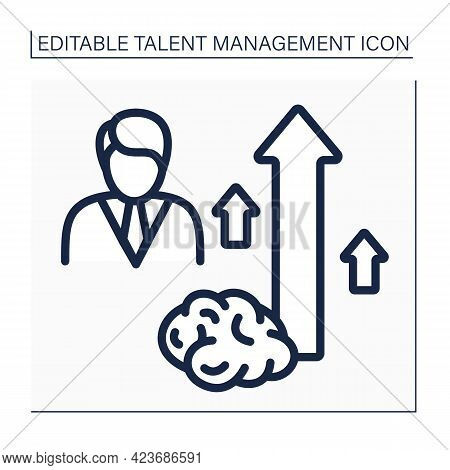 Employee Potential Line Icon. Extremely Talented And Perspective Employee. Career Growth. Talent Man