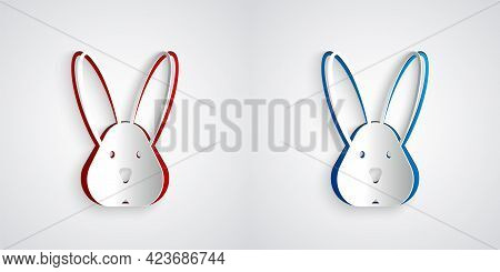 Paper Cut Animal Cruelty Free With Rabbit Icon Isolated Paper Cut Background. Paper Art Style. Vecto