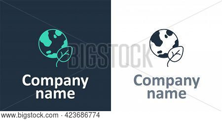 Logotype Earth Globe And Leaf Icon Isolated Logotype Background. World Or Earth Sign. Geometric Shap