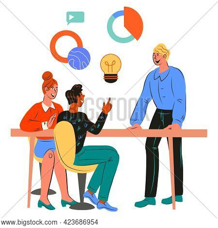 Business People Taking Part In Business Meeting, Negotiation Or Brainstorming, Flat Cartoon Vector I