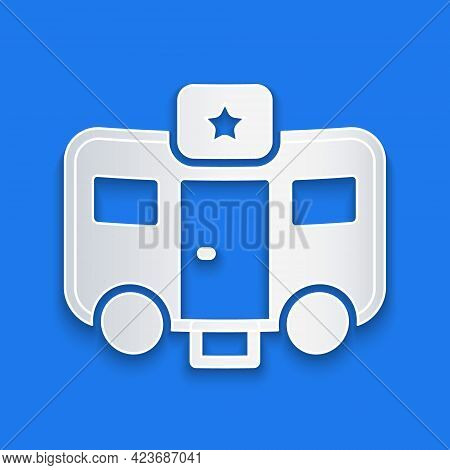 Paper Cut Machine Trailer Dressing Room For Actors Icon Isolated On Blue Background. Movie Crew Rest