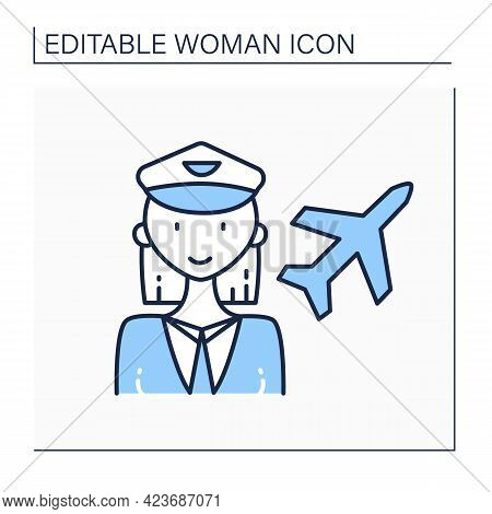Woman Pilot Line Icon. Female Pilot. Person Piloting Plane. Successful Strong Woman Concept. Isolate