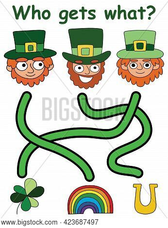 Who Gets What? - Patrick Day Maze Game Vector Illustration. Funny Cartoon Folklore Characters With T
