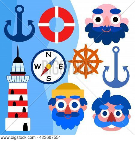 Cartoon Marine Set With Seamen, Anchors, Compass, Lifebuoy Steering Wheel And Lighthouse Vector Illu