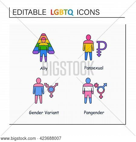 Lgbtq Collections Line Icons. Self Acceptance. Sexual Orientations. Ally, Pansexual, Pangender, Gend