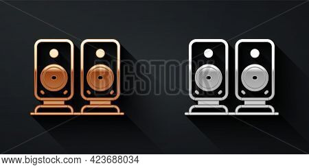 Gold And Silver Stereo Speaker Icon Isolated On Black Background. Sound System Speakers. Music Icon.