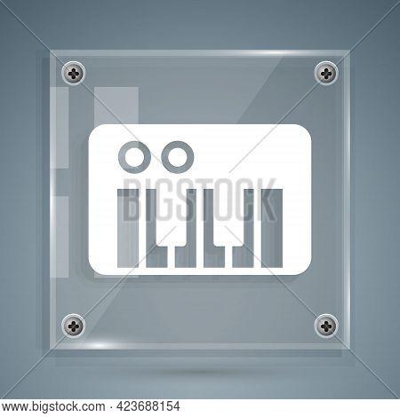 White Music Synthesizer Icon Isolated On Grey Background. Electronic Piano. Square Glass Panels. Vec