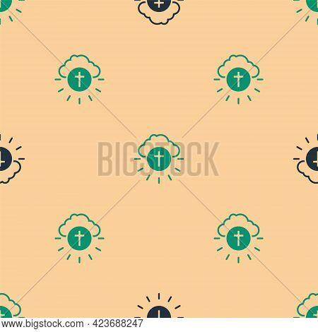 Green And Black Religious Cross In The Circle Icon Isolated Seamless Pattern On Beige Background. Lo