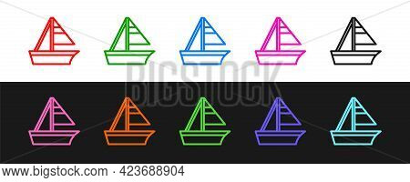 Set Line Yacht Sailboat Or Sailing Ship Icon Isolated On Black And White Background. Sail Boat Marin