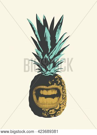 Illustration Of Pineapple Fruit With A Grinning Mouth. Emotional Character. Summer Sweet Tropical Fr