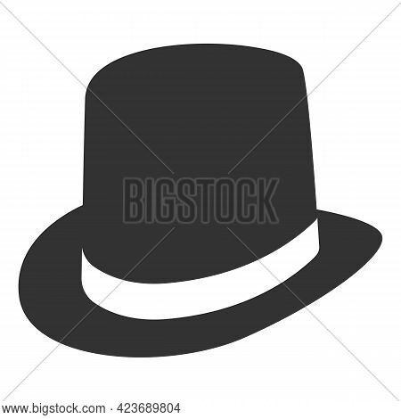Vintage Hat, Icon With Black Hat Cylinder On White Background. Vector