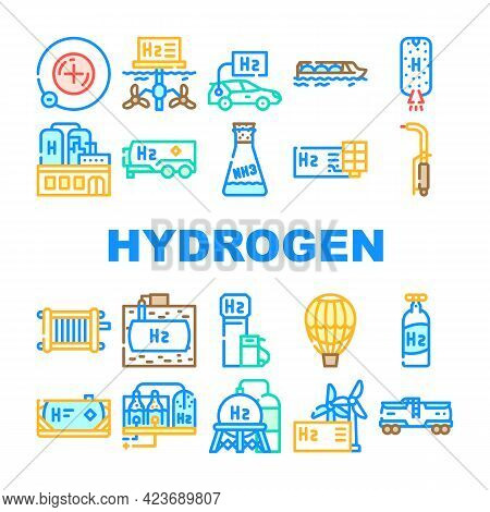 Hydrogen Energy Gas Collection Icons Set Vector. Hydrogen Fuel Station And Cylinder, Solar Panel Pro