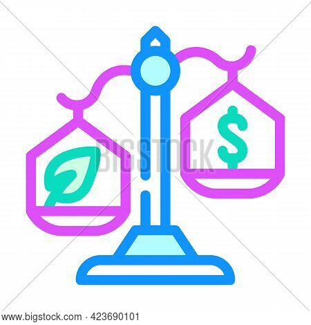 Money Or Chia Cryptocurrency Balance Scale Color Icon Vector. Money Or Chia Cryptocurrency Balance S