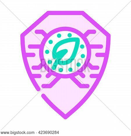 Digital Protection Chia Cryptocurrency Color Icon Vector. Digital Protection Chia Cryptocurrency Sig