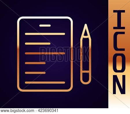 Gold Line Scenario Icon Isolated On Black Background. Script Reading Concept For Art Project, Films,