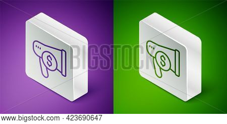 Isometric Line Megaphone And Dollar Icon Isolated On Purple And Green Background. Loud Speech Alert