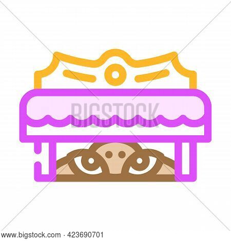 Monster Under Bed Fear Color Icon Vector. Monster Under Bed Fear Sign. Isolated Symbol Illustration
