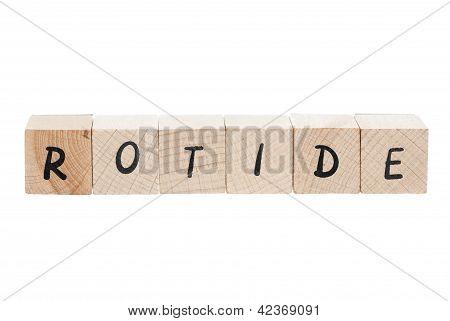 Editor Written Backwards With Wooden Blocks.