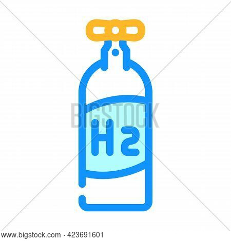 Cylinder Hydrogen Gas Color Icon Vector. Cylinder Hydrogen Gas Sign. Isolated Symbol Illustration