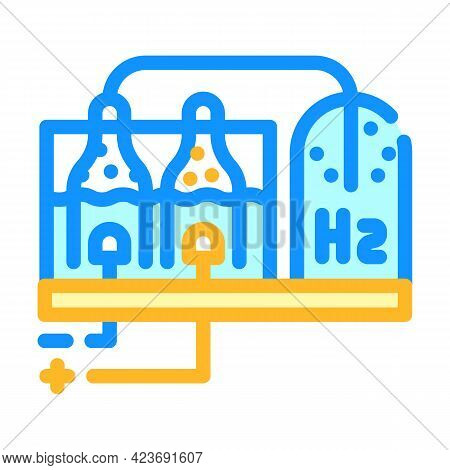 Hydrogen Production Process Color Icon Vector. Hydrogen Production Process Sign. Isolated Symbol Ill