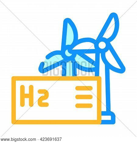 Wind Energy Hydrogen Production Color Icon Vector. Wind Energy Hydrogen Production Sign. Isolated Sy