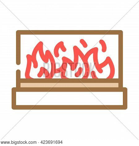 Alcohol Design Fireplace Color Icon Vector. Alcohol Design Fireplace Sign. Isolated Symbol Illustrat