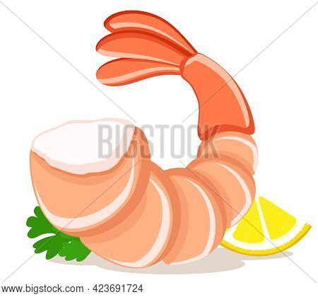 Peeled Shrimp With Lemon And Parsley Leaves Close-up On A White Plate. Background