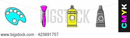 Set Palette, Paint Brush, Paint Spray Can And Tube With Paint Palette Icon. Vector