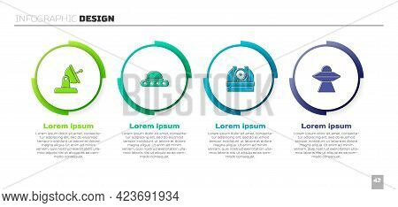 Set Satellite Dish, Ufo Flying Spaceship, Astronomical Observatory And . Business Infographic Templa