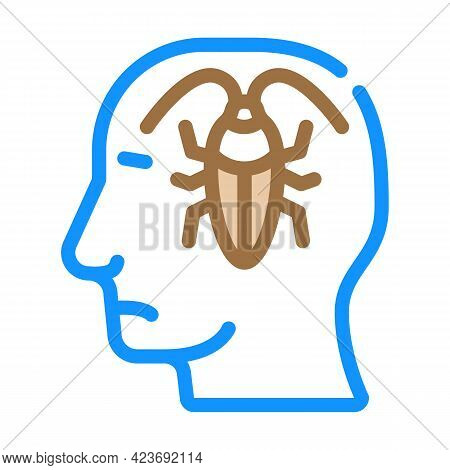 Cockroaches In Head, Neurosis Problem Color Icon Vector. Cockroaches In Head, Neurosis Problem Sign.