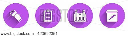Set Police Electric Shocker, Report, Bulletproof Vest And Evidence Bag With Knife Icon With Long Sha