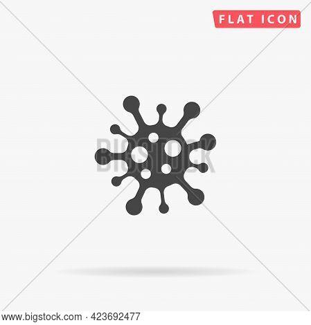 Coronavirus Bacteria Cell Flat Vector Icon. Hand Drawn Style Design Illustrations.