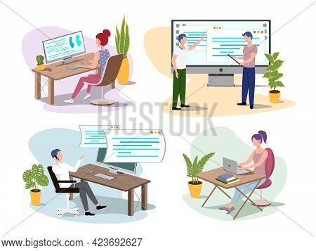 Set Of Programmers Working On Web Development On Computers. Vector Programmer Develops Code Illustra