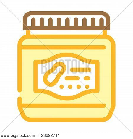 Bottle With Sweet Peanut Butter Color Icon Vector. Bottle With Sweet Peanut Butter Sign. Isolated Sy