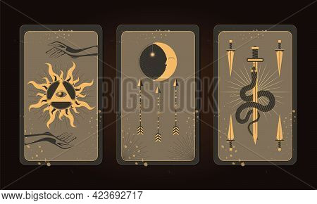 Set Of Mystical Tarot Cards. Elements Of Esoteric, Occult, Alchemical And Witch Symbols. Magic Occul