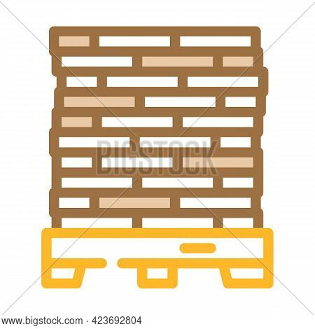 Pallet Peat Color Icon Vector. Pallet Peat Sign. Isolated Symbol Illustration