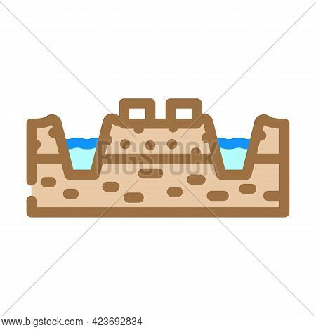 Mining Peat Color Icon Vector. Mining Peat Sign. Isolated Symbol Illustration