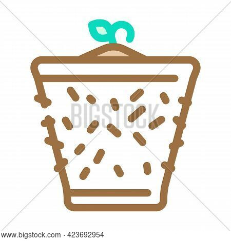 Pot Peat Color Icon Vector. Pot Peat Sign. Isolated Symbol Illustration